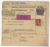 Schweiz Michel No. 197 , 206 auf Paketkarte
