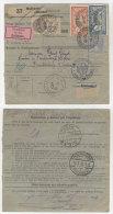 Frankreich Michel No. 100 , 139 , 235 auf Paketkarte