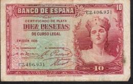 SPAIN   P86   10   PESETAS   1935      VF - [ 2] 1931-1936 : Repubblica