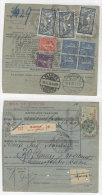 Frankreich Michel No. 100 , 161 , 168 , 216 auf Paketkarte Perfin