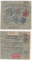 Frankreich Michel No. 100 , 168 , 194  auf Paketkarte