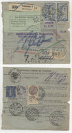 Frankreich Michel No. 100 , 168 , 235  auf Paketkarte Perfin