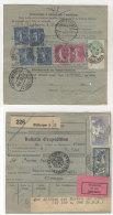 Frankreich Michel No. 100 , 168 , 185 , 241 auf Paketkarte Perfin