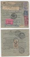 Frankreich Michel No. 168 , 185 , 241 auf Paketkarte Perfin