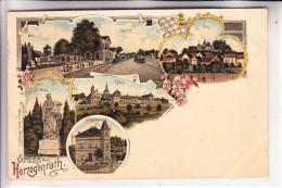 5120 HERZOGENRATH, Lithographie 1901, Bahnhof, Moses, Rolduc, Burg, Villa Bicheroux - Herzogenrath