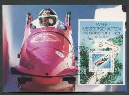 GERMANIA GERMANY - FDC CARTOLINA MAXIMUM CARD 1991 - CAMPIONATI DEL MONDO DI BOB ALTENBERG - 137 - Inverno
