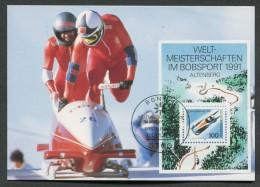 GERMANIA GERMANY - FDC CARTOLINA MAXIMUM CARD 1991 - CAMPIONATI DEL MONDO DI BOB ALTENBERG - 138 - Inverno