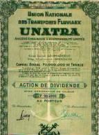 """LEOPOLDVILLE/BRUXELLES """"Union Nationale Des Transports Fluviaux UNATRA"""" - Action De Dividende - Afrique"""