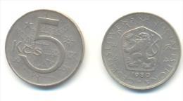CECOSLOVACCHIA 5 KORONE  ANNO 1980 - Cecoslovacchia