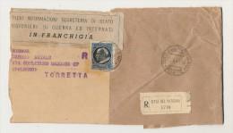 FRAMMENTO DI BUSTONE INFORMAZIONI PRIGIONIERI DI GUERRA RACCOMANDATA LIRE 2.50 1945 - Vatican