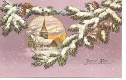 "CARTE GAUFREE ,SAPIN ,CLOCHE,SOUS LA NEIGE,""JOYEUX NOEL"" REF 41195 - Christmas"