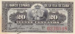 Billetes España Otros Isla De Cuba 20 Centavos 1897 - Espagne