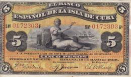 Billetes España Otros Isla De Cuba Cinco Pesos 1896 - Espagne
