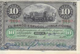 Billetes España Otros Isla De Cuba Diez Pesos 1896 - Espagne