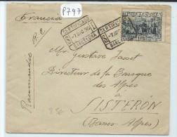 LETTRE RECOMMANDEE DE BARCELONNE¨POUR LA FRANCE 1936 - Marcofilia - EMA ( Maquina De Huellas A Franquear)