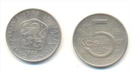 CECOSLOVACCHIA 5 KORONE  ANNO 1982 - Cecoslovacchia