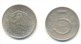 CECOSLOVACCHIA 5 KORONE  ANNO 1983 - Cecoslovacchia