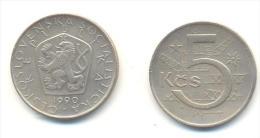 CECOSLOVACCHIA 5 KORONE  ANNO 1990 - Cecoslovacchia