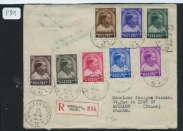 BELGIQUE LETTRE  RECOMMANDEE DE BRUXELLES POUR LA FRANCE 1936 AFF SERIE COMPLETE - Postmark Collection