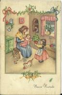 BUON NATALE  Illustrata Scenetta Familiare Mamma Con Figli  Gatto Con Gomitolo - Natale