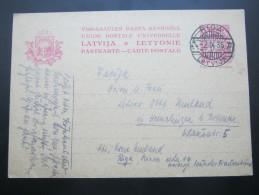 1935, Ganzsache  Aus Riga  Nach Deutschland - Lettland