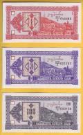 GEORGIE - Lot De 3 Billets De 1, 3 Et 100 Laris. 1993. Pick: 33, 34 Et 38. NEUF - Géorgie