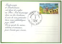 CP Carte Postale FdC Timbre WALLIS ET FUTUNA Obl 1er Jour MEILLEURS VOEUX MATA-UTU Fêtes 1991 Père Noël Santa Claus - Santa Claus