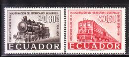 Ecuador 1958 Guayaquil - Quito Railroad 2v Mint - Equateur
