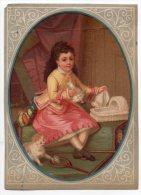 Chromo Testu & Massin Ovale Jeu Enfant Fillette Berceau Poupée Jouet Raquette Volant Chat Chambre Escalier Tapis - Chromos