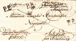 LAC De MÜNCHEN Du 11.9.1827 Adressée à Selestat + BAVIERE PAR STRASBOURG Noir + II / A.E.D. + P.P. - Poststempel (Briefe)