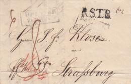 LAC De DRESDEN Du 10.5.18? Adressée à Strasbourg + BAVIERE PAR STRASBOURG Noir + R.S.T.B. Noir - Poststempel (Briefe)