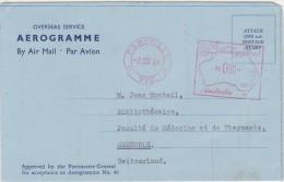 PARKVILLE 1964 / Aérogramme 0/10 Machine à Affranchir  Pour GRENOBLE - Aerogrammes