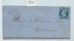 FRANCE LETTRE  AFF N°14 VARIETE POSTF  SUR LETTRE DE AIGUILLON   POUR BORDEAUX 1859 - 1853-1860 Napoleon III