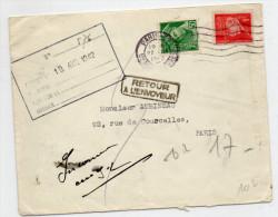1942 - ENVELOPPE De PARIS Avec MERCURE + PETAIN -> REEXPEDIEE - Francia