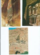 Asie Jordanie JORDAN - PETRA  -Lot De 3 Cpm Voir Scan R/V  Des 3 Cartes (Pharaon, Siq, Urn Tomb) - Jordanie