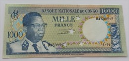 CONGO 1000 FRANCS 1964 AUNC - Congo