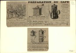 CAFE - Moulin à Café - Publicité Tirée D'une Revue De 1922 Et Collée Su Carton - Publicités