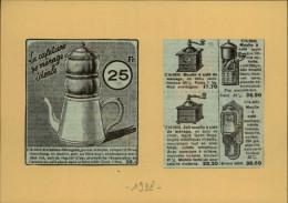 CAFE - Moulin à Café - Cafetière - Publicité Tirée D´une Revue De 1938 Et Collée Su Carton - Publicités