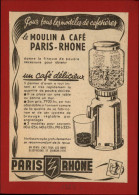 CAFE - Moulin à Café - Publicité Tirée D´une Revue De 1953 Et Collée Su Carton - Publicités