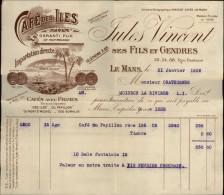 CAFE - Facture Café Des Iles - LE MANS - Alimentaire