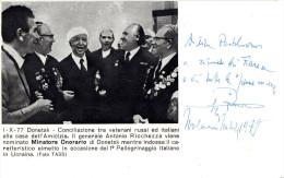 Cartolina Commemorativa Autografa. Conciliazione Tra Veterani Russi Ed Italiani Alla Casa Dell'Amicizia. - Non Classificati