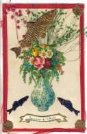 CPA PIONNIERE FETE 1°AVRIL DECOUPIS COLLAGE DORURE - Poisson D'Avril Fleurs En Vase - 1er Avril - Poisson D'avril