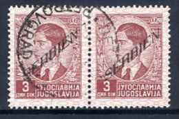 SERBIA OCCUPATION 1941 Definitive With Overprint Upwards, 3d Pair Used.   Michel 36 - Occupazione 1938 – 45
