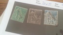 LOT 236707 TIMBRE DE COLONIE REUNION OBLITERE N�20 A 22 VALEUR 24 EUROS