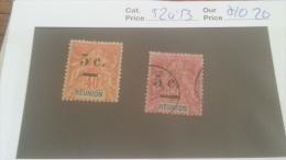 LOT 236720 TIMBRE DE COLONIE REUNION NEUF* OBLITERE N�52/53 VALEUR 20 EUROS