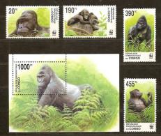 Congo 2002 OCBn° 2110-13 Et Bloc 207 *** MNH Faune Gorilles WWF Cote 30 Euro - W.W.F.