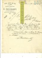 76 - Seine-maritime - DEVILLE-LES-ROUEN - Facture DESCHAMPS - Vins, Eaux-de-vie Et Liqueurs – 1912 - REF 160 - France