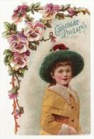 Chromo Découpis Chocolat Poulain Enfant Fille Fillette Chapeau Hiver Neige Fleurs Pensées - Poulain
