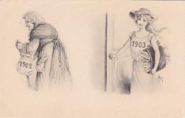 CARD BUON ANNO GIOVANE DONNA SORRIDENTE  1903 CHE ARRIVA VECCHIA 1902 CHE VA VIA -FP-N-2-0882-22472 - Nieuwjaar