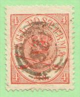 """DEN SC #13  1864 Royal Emblems """"28""""? (Holbek), CV $8.00 - Used Stamps"""